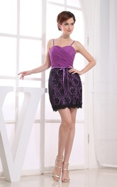 Sweetheart Short Spaghetti-Strap Appliques and Dress With Ruching