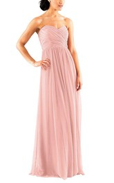 Criss-cross Long Chiffon Bridesmaid Dress with Ruching