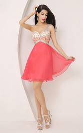 A-line Sleeveless Chiffon One-shoulder Straps Short Mini Homecoming Dress