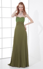 Sweetheart Floor-Length Pleated Dress With Gemmed Top