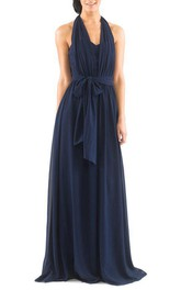 Halter Chiffon Long Bridesmaid Dress with Sash