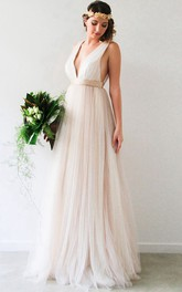 V-Neck Sleeveless Jeweled Tulle Wedding Dress