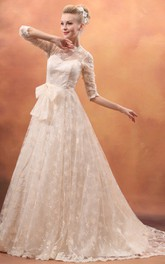 Elegant Long-Sleeve Bowed Dress With Lace Appliques and Tulle Overlay
