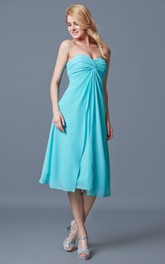 A-line Sweetheart Tea Length Chiffon Dress With Ruching