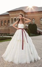 Sweetheart Low V Back Bow Dress With Cascading Ruffles