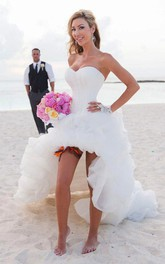 Sweetheart High-low Organza Dress With Ruffles