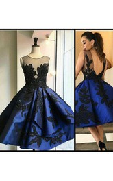 Ball Gown Sleeveless Satin Bateau Deep-V Back Tea-length Homecoming Dress