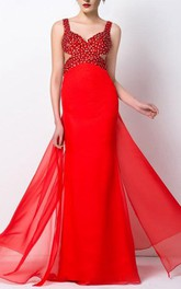 Glimmering A-Line Straps Beaded Long Prom Dress