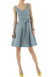 V-neck A-line Pleated Satin Short Dress with Sash