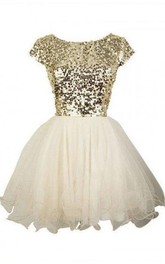 A-line Short Sleeve Tulle Sequins Bateau Zipper Low-V Back Short Mini Homecoming Dress