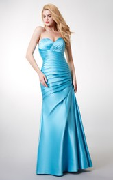 Sweetheart Ruched Mermaid Long Satin Dress With Lace-up