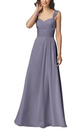 Anne Queen Ruched Long Bridesmaid Dress with Pleats