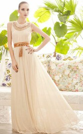 Ball Gown Floor-length Sleeveless Chiffon Keyhole Dress