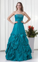 Strapless Pick-Up Beaded Ruching and Gown With Buckle