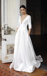 Plunging V-neck Sexy Elegant Satin Court Train Wedding Dress With 3/4 Sleeves