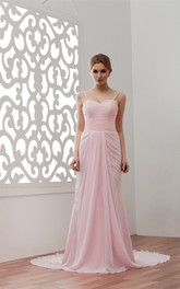 Spaghetti-Strap Long Chiffon Brush Train and Dress With Pleats