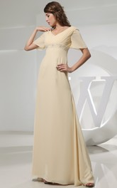 Chiffon Floor-Length Strapless Dress With Ruching and Beading