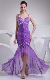 Spaghetti-Strap Mermaid High-Low Draping and Dress With Beading