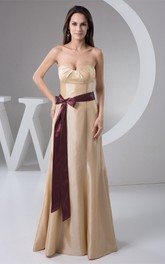 Sweetheart A-Line Maxi Sweep Train and Dress With Bow