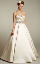 Fabulous Sweetheart Neckline Satin Ball Gown With Jeweled Waist