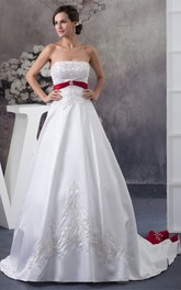 A-Line Satin Broach and Ball-Gown With Embroideries