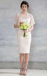 Scoop Knee-Length Poet-Sleeve Appliqued Jersey Wedding Dress With Cape