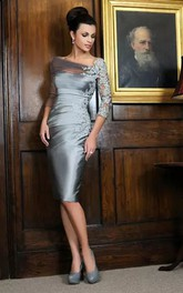 Bateau Sheath Knee-length 3-4 Length Sleeve Satin Lace Mother of the Bride Dress with Zipper Back