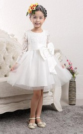 Lovely Tulle Lace Flower Girl Dress Bowknot Long Sleeve Zipper