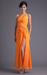One-Shoulder Front-Split Chiffon Dress With Jewels