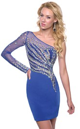 Long Illusion Sleeve One-Shoulder Sheath Homecoming Dress With Rhinestones
