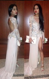 2018 Long Sleeves Prom Dresses Pink Thigh-High Slit Sequined Backless Sexy Evening Gowns