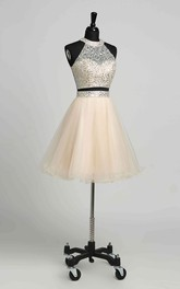 A-Line Sleeveless Short Mini Keyhole Romantic Tulle Dress with Beading Sequins