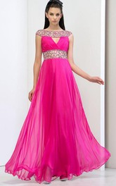 Bateau Beaded Hollow Prom Dress