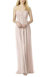 Empire Ruched Lace Long Bridesmaid Dress with Tulle