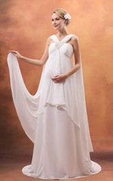Fairy Ruching Empire Wedding Dress With Beaded and Strap