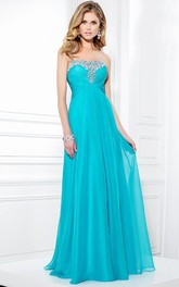 Floor-Length Sleeveless Strapless Ruched Chiffon Prom Dress With Beading