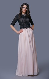 Lace and Chiffon A-Line Floor Length Dress With Half Sleeves and Jeweled Neck