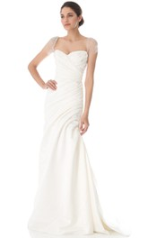 Long Queen Anne A-line Taffeta Dress With Low-V Back Style
