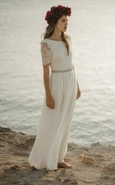 Sheath Bateau Bohemian Bridal Gown With Short Sleeve And Lace Open Back