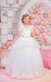 Flower Girl Jewel Neck Layered Tulle Ball Gown With Lace Top