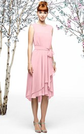 Cap-Sleeved Chiffon Dress With Asymmetrical Layers