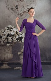 Square-Neck Chiffon Floor-Length Half-Sleeve Beading and Dress With Central Ruching