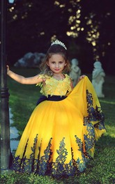 Lovely Yellow Appliques Flower Girl Dresses Floor Length Pageant Dresses