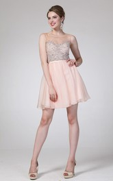 A-Line Short Scoop-Neck Sleeveless Chiffon Illusion Dress With Beading