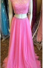 Newest Pink Two Piece 2018 Prom Dress Lace Beadings Cap Sleeve