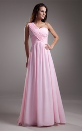 One-Shoulder Chiffon Floor-Length Criss-Cross Gown With Beading