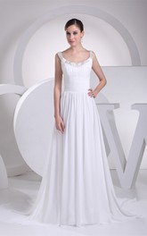 Strapped Pleated Chiffon Ruched Waist and Dress With Beading