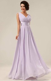 V Neck Sleeveless Pleated Long Chiffon Dress