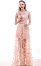 Sheer Neck Appliques Bow Prom Dress