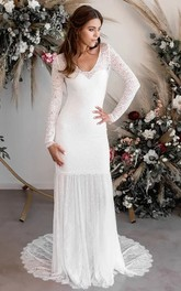 Sexy Chiffon and Lace V-neck Long Sleeves Bridal Gown with Deep-V Back